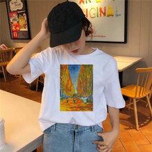 Женская Винтажная футболка с рисунком Ван Гога белая Базовая