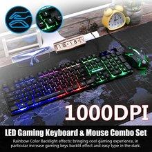 Teclado y ratón retroiluminación arcoíris con cable USB de 1000DPI, conjunto mecánico para PC, portátil, juegos de escritorio, Combo ergonómico elegante