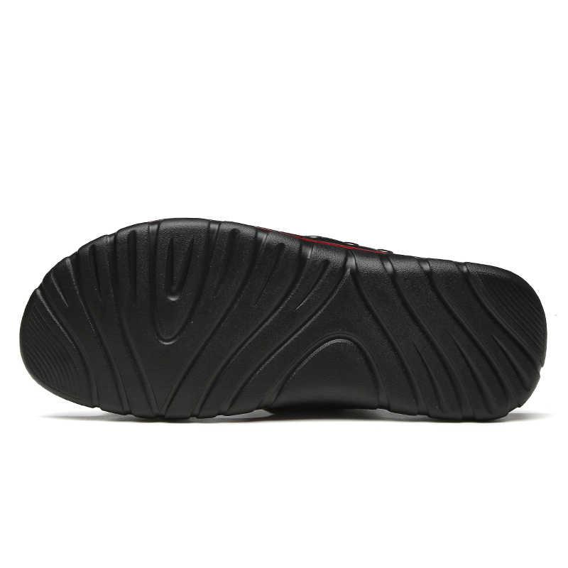Abnkarwin erkek deri slaytlar terlik yaz ayakkabı düz erkek terlik terlik açık uyuyanlar haberler 2020 Chinelo slayt Masculino