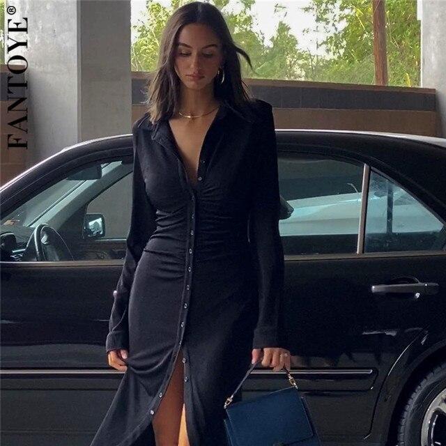 FANTOYE Ruched Turn-Down Collar Button Blouse Dress Women Sexy Long Sleeve Midi Dresses Elegant Black Skinny Female Vestidos 1