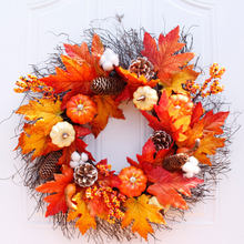 Herfst Vakantie Pompoen Maple Bladeren Krans Thanksgiving Dag Voordeur Muur Opknoping Garland Wedding Home Decorations(China)