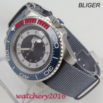 цена 40mm Sterile Dial Sapphire Glass Rotating Ceramic Bezel Luminous Steel Case no logo Bliger men's Watch Automatic Movement Watch онлайн в 2017 году