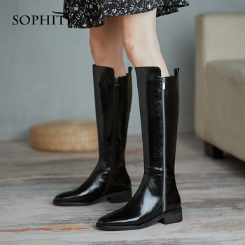 SOPHITINA Winter Warm Knee-high Boots Woman Bright Leather Zipper Round Toe Low Square Heel Solid High Boots Lady Shoes PO811 sophitina fashion round toe ladies boots casual metal decoration med heel shoes winter basic solid square heel women boots so203