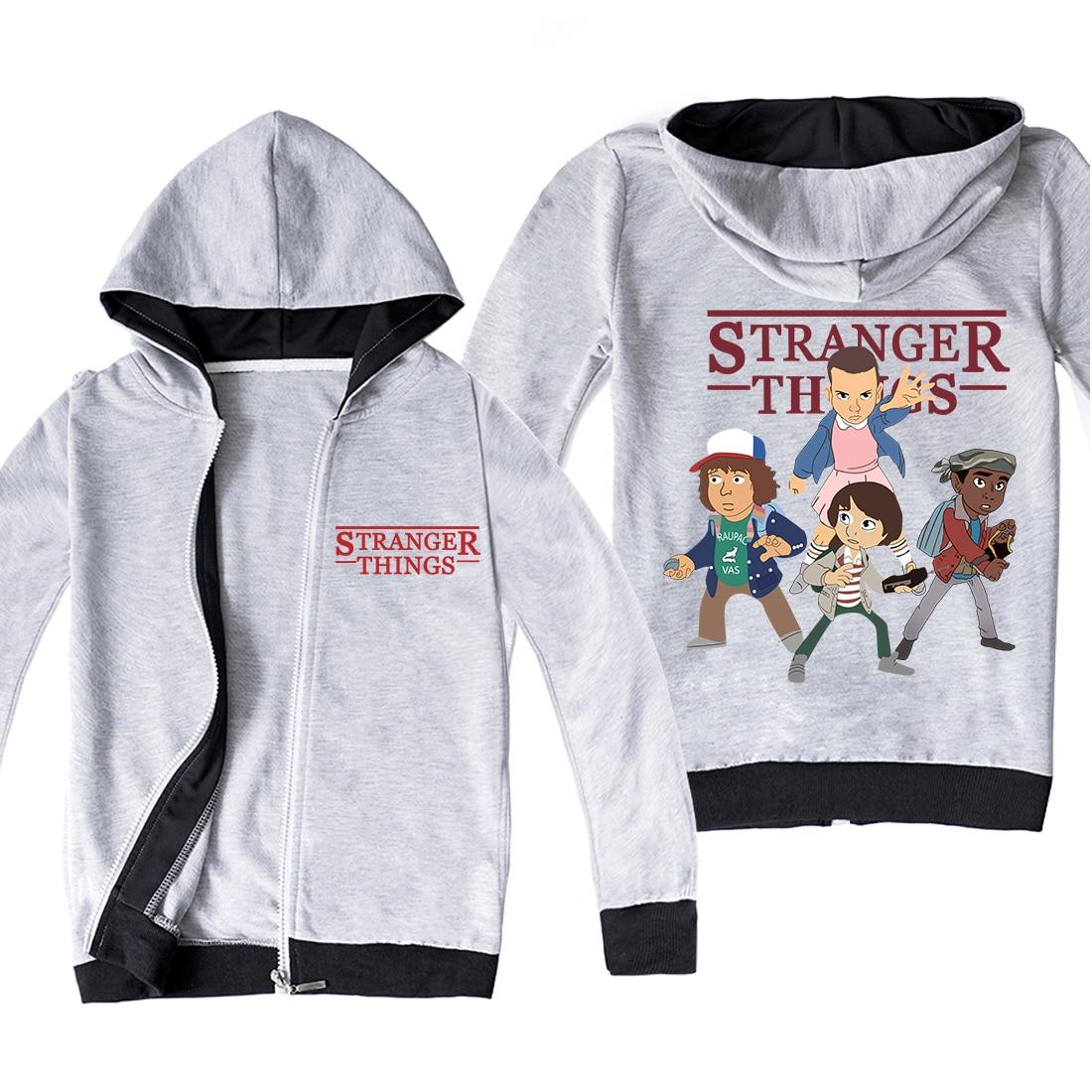 estranho coisas ziper hoodies manga longa impressao dos desenhos animados oversized hoodie camisetas topos meninas criancas