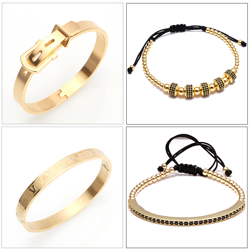 4pcs/Set luxury Men bracelet Titanium Steel Roman Numeral Bracelet for men Horseshoe Buckle Bangle Pulseira Bileklik Jewelry