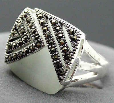 สีขาวโอปอล 14 มม.X 15 มม.925 เงินสเตอร์ลิง Marcasite ขนาดแหวน 7/8/9/ 10