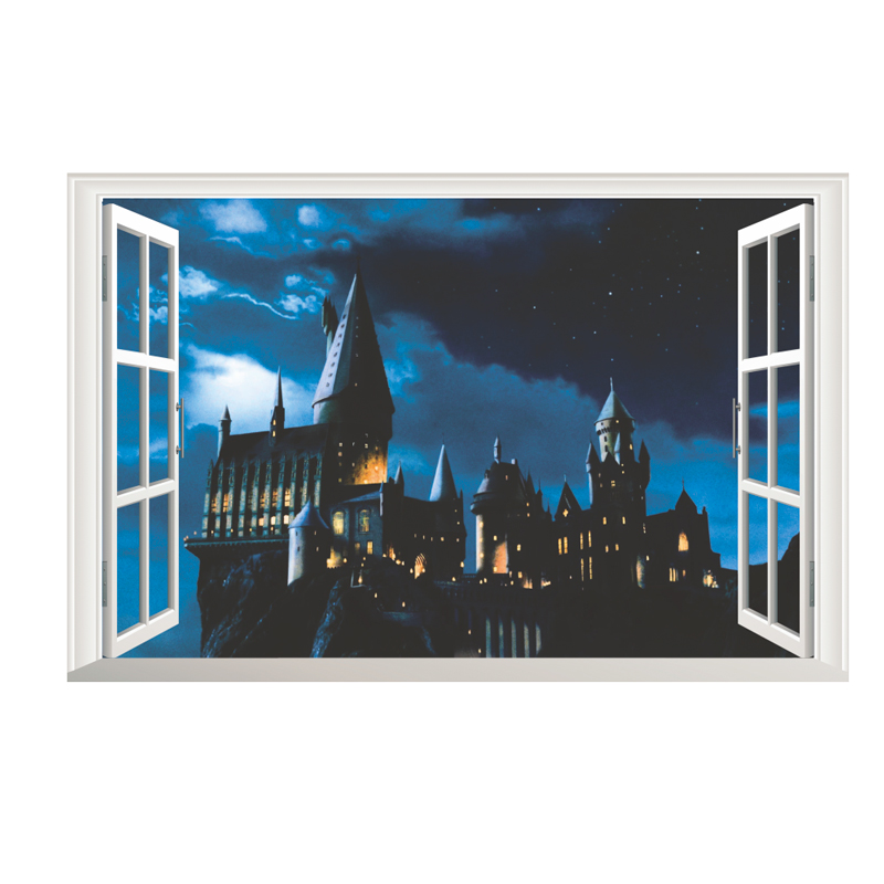 Potter 3Dview Magic School Castle Wall Window Stickers For Kids Rooms Home Decor Harry Wall Decals  Poster PVC Mural Art