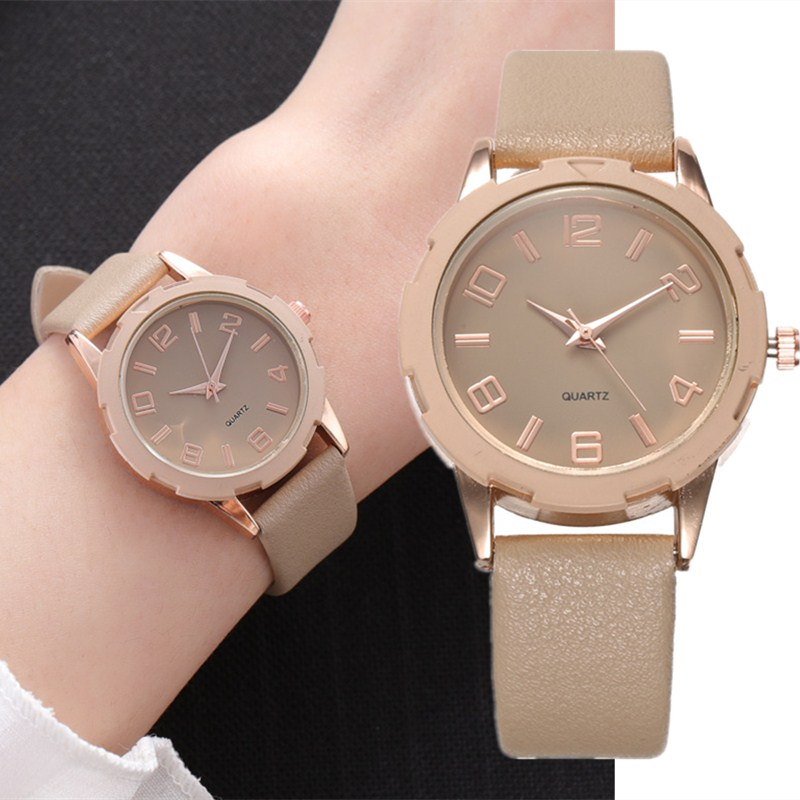 Top Brand High Quality Fashion Womens Ladies Simple Watches Candy Colors Beige Leather Analog Quartz Wrist Watch Clock Saat Gift