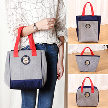 Lunch Container Bag Soft Tote Picnic Waterproof Liner Thermal Bags Work Insulated Cooler Unisex For Weekend Bear stripe