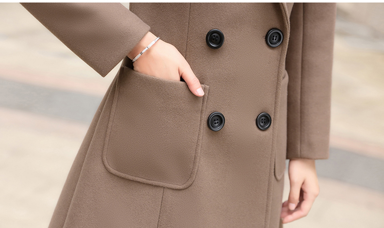 Woolen Women Jacket Coat Long Slim Blend Outerwear 2019 New Autumn Winter Wear Overcoat Female Ladies Wool Coats Jacket Clothes 17