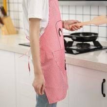 Practical Durable Kitchen Cute Printed Stripe Bear Hanging Neck Apron Household Polyester Washable Accessories