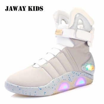 Jawaykids novo led botas para homens, mulheres, meninos e meninas usb recarregável sapatos de incandescência homem sapatos de festa botas de soldado legal