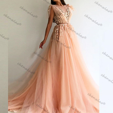 Evening-Dress Cap-Sleeves Champagne Long-A-Line Floor-Length Split Jewel-Neck Vestido-De-Festa