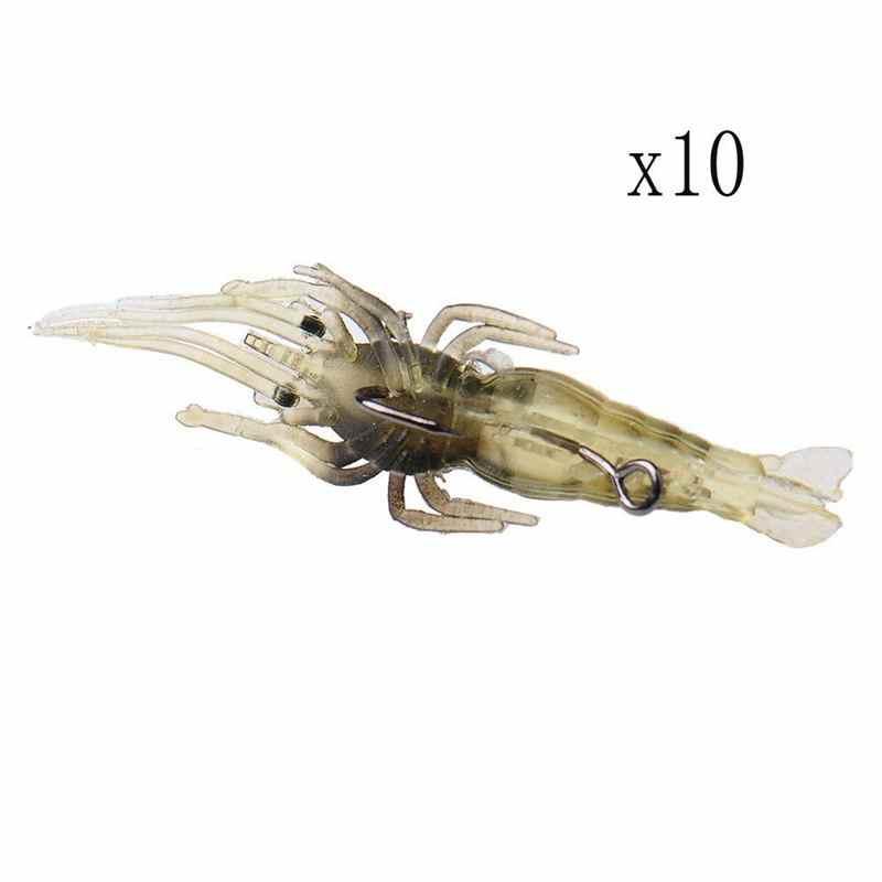 10X Shrimp Fishing Simulation Soft Prawn Lure Hook Tackle Bait Sea Fishing Lures