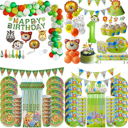 Jungle Safari Birthday Party Decoration Disposable Tableware Set Baby Shower Jungle Decoration Animal Zoo Theme Party Supplies