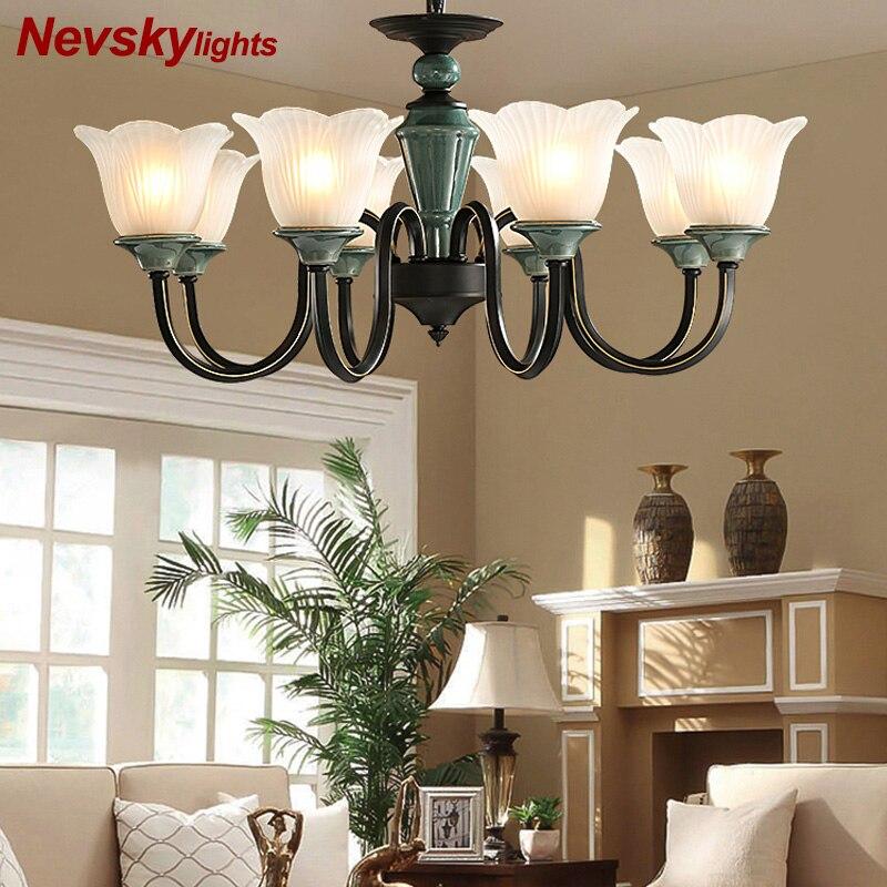 US $119.99 40% OFF|Modern lustres for living room black chandelier lighting  dining chandelier with porcelain Fixtures bedroom ceramic ceiling lamp on  ...