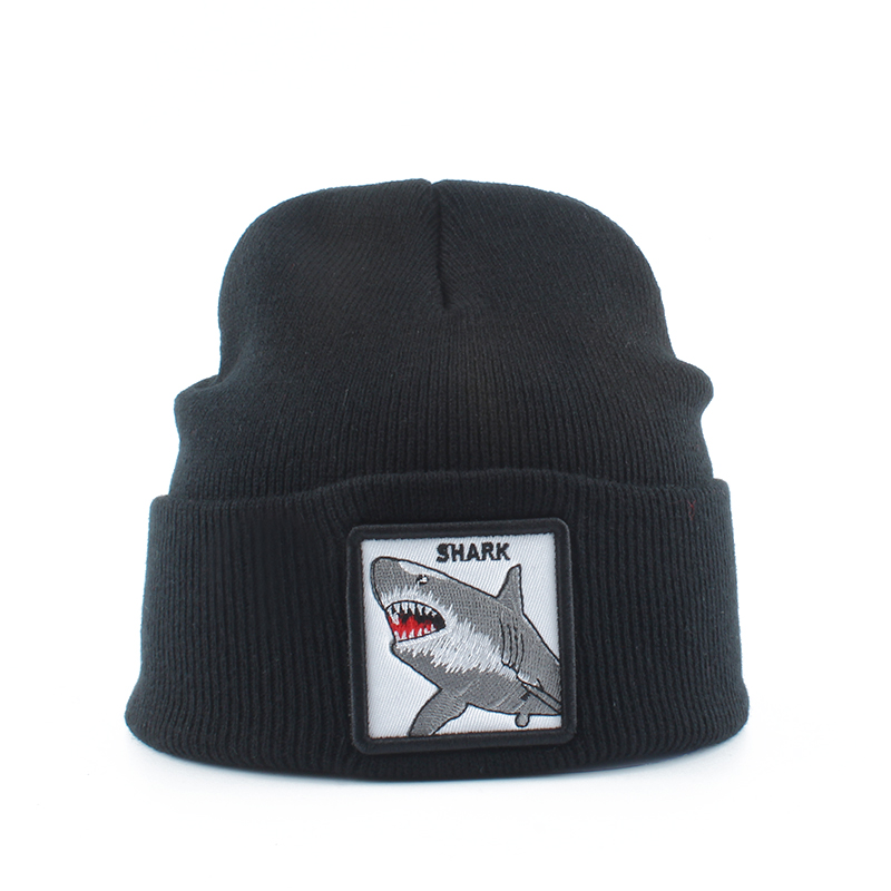 High Quality Winter Hats For Men Women Animal Beanie 100% Shark Embroidery Skullies Bonnet Knitted Hat Streetwear Hip Hop Cap