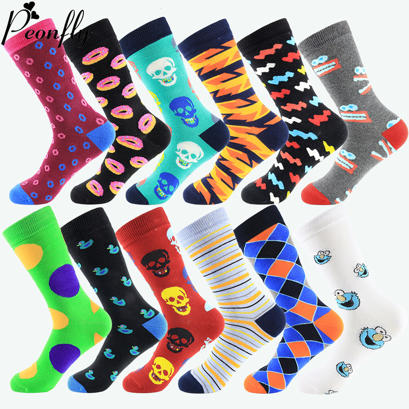 PEONFLY Men Socks Cotton Funny Socks Novelty Casual Cartoon Duck Plaid Striped Colorful Crew Socks For Happy Wedding Gift