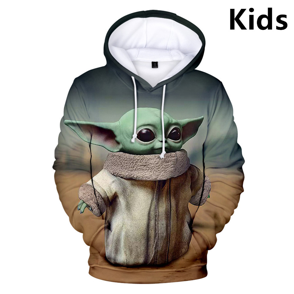 3 To 14 Years Kids Hoodies The Mandalorian Baby Yoda 3D Hoodie Sweatshirt Boys Girls Casual Cartoon Jacket Coat Children Clothes