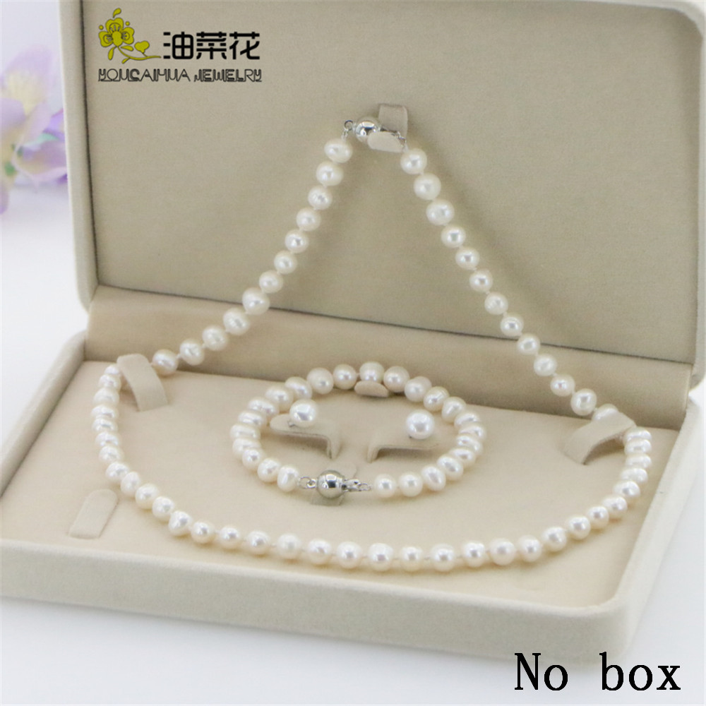 New Fashion Girl 6-7MM White real natural Pearl Necklace Bracelet Earring Wedding Jewelry Set Beads for Jewelry Making Woman Gif