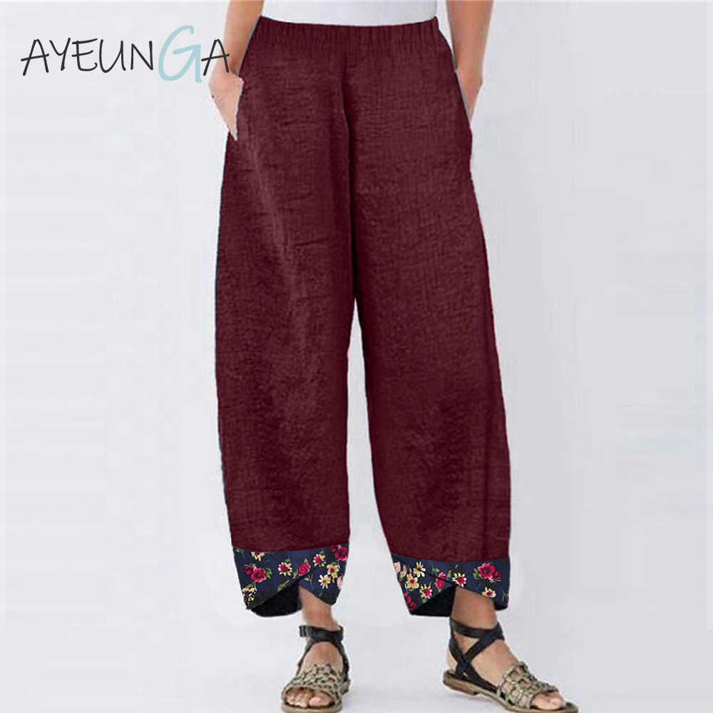 5XL Women High Waist Pants Casual Floral Wide Leg Vintage Loose Oversize Pockets Elastic Waist Autunm Spring Joggers Women