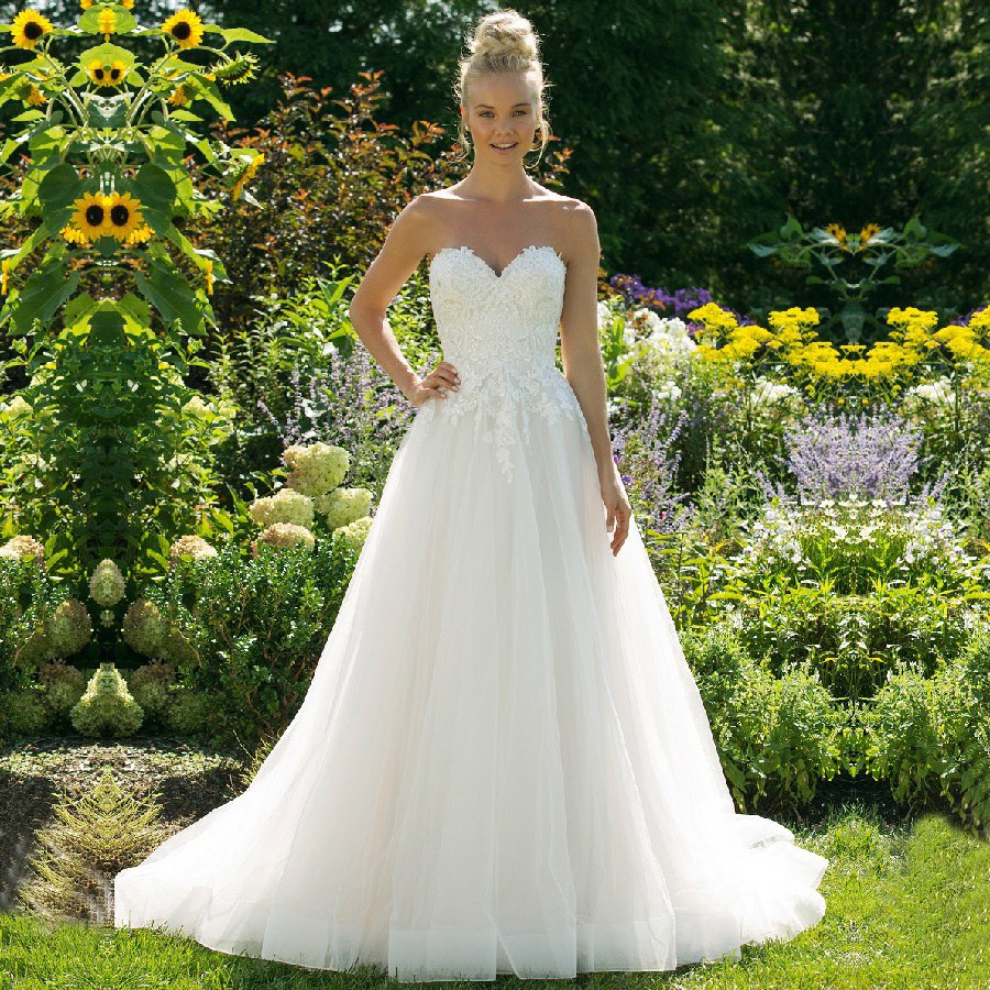 Vintage Tulle Sweetheart Neckline Robe De Mariee Wedding Gowns Sleeveless A Line Weeding Dress Backless With Lace Robe Mariage