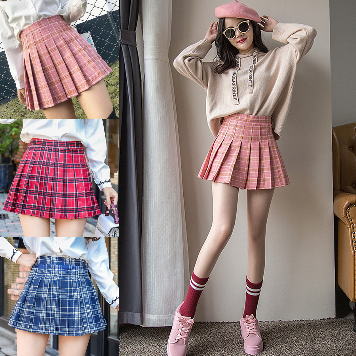 Women Summer Bottom Pink Plaid Mini Skirt Femme High Waist Pleated Skirts For Female Sport Training Skirt Uniform Tennis Skirts