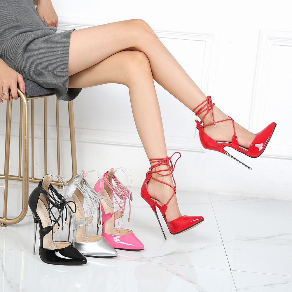 Женская обувь на высоком каблуке 16 см с перекрестной шнуровкой пикантные модельные туфли для работы из лакированной кожи женские туфли на ш...