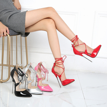 16 cm High Heels Cross-Lace-up Women Shoes Patent Leather Sexy Models Show Work Shoes Size 46 Stiletto Heel Extreme Shoes Lady