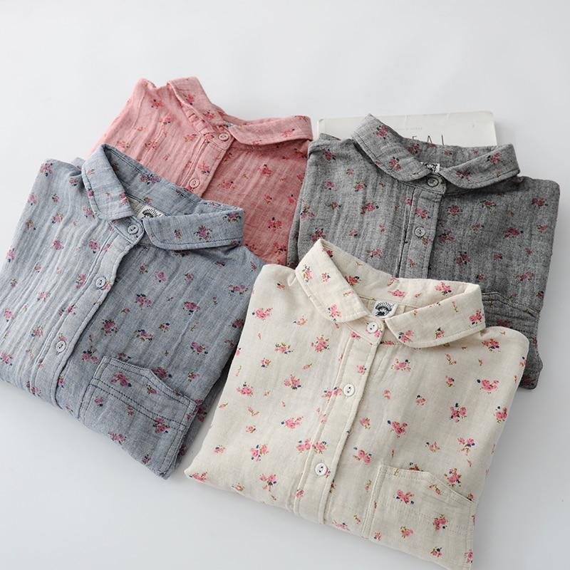 Romantic Floral Print Cotton Yarn Soft Long Sleeve Rustic Flowers Print Shirt Blouse Female