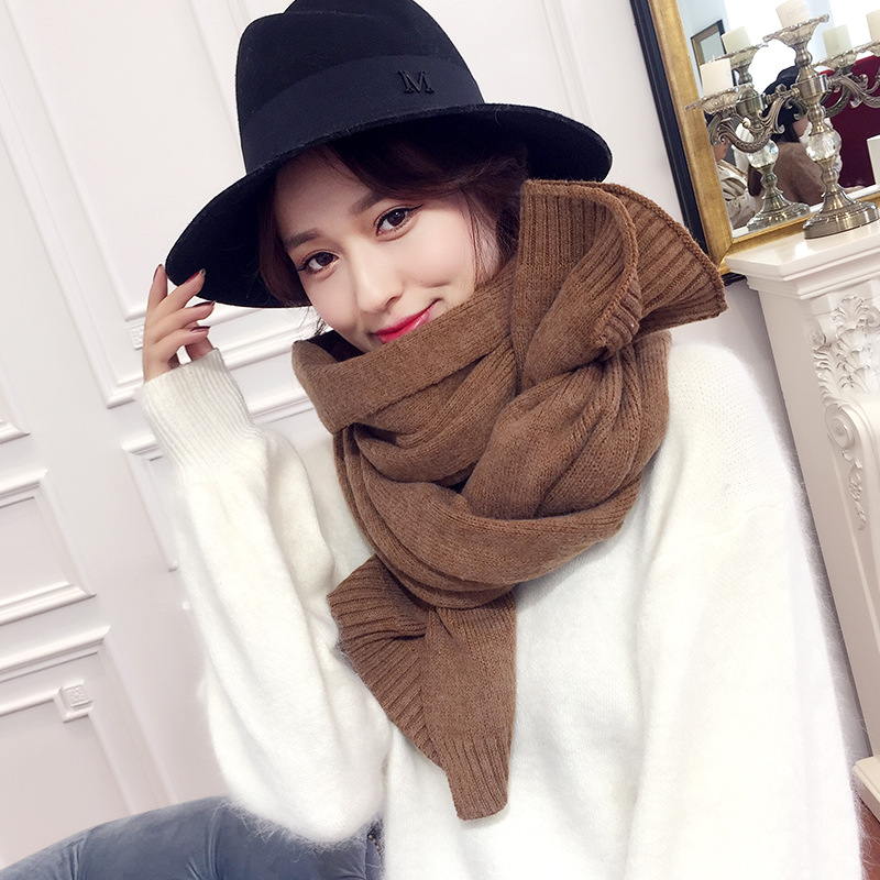 Scarf Winter Unisex Warm Solid Color Knit Thick Literary