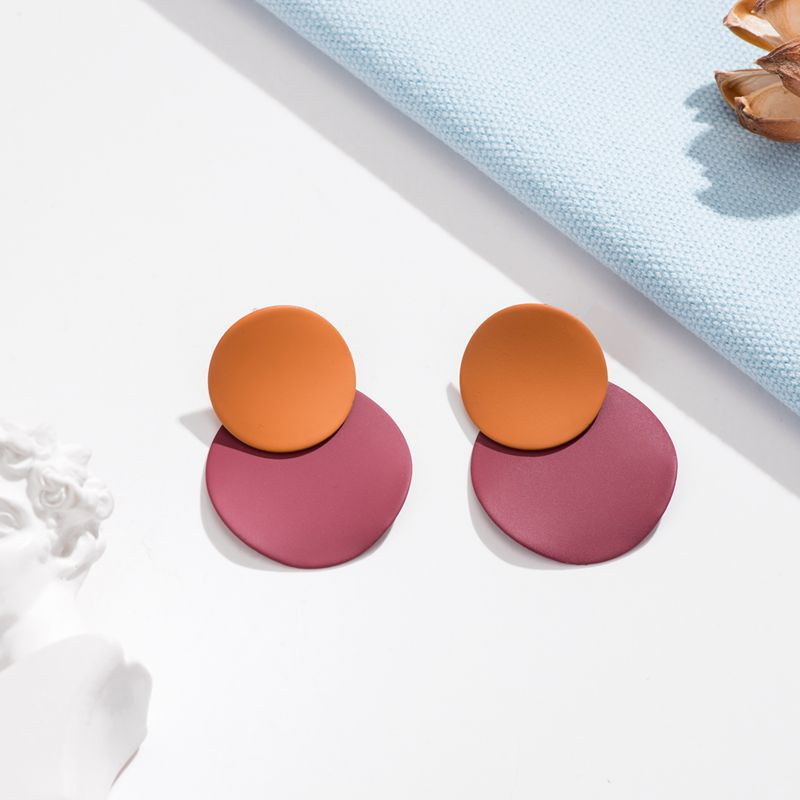 XZP 2019 Vintage Geometric Square Round Coin Earrings For Women Drop Earrings 4 colour Matte Circle Gold Geometric Earrings in Drop Earrings from Jewelry Accessories