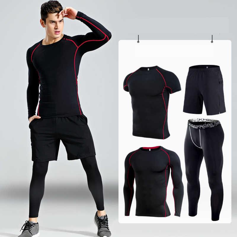 Mannen Compressie Sportkleding Suits Gym Panty Training Kleding Workout Jogging Sport Set Running Trainingspak Droge Fit Plus Size