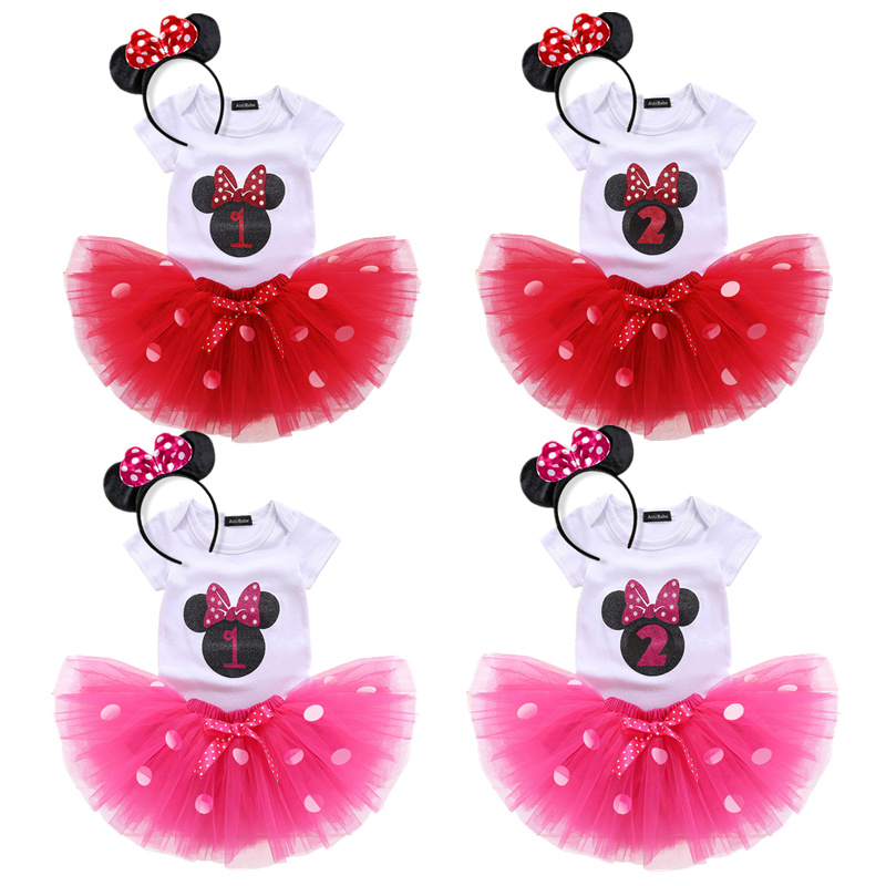 Летняя одежда для малышей Костюм Минни Маус из 3 предметов для девочек, платье в горошек Хлопковое платье для малышей платья для первого дня ...