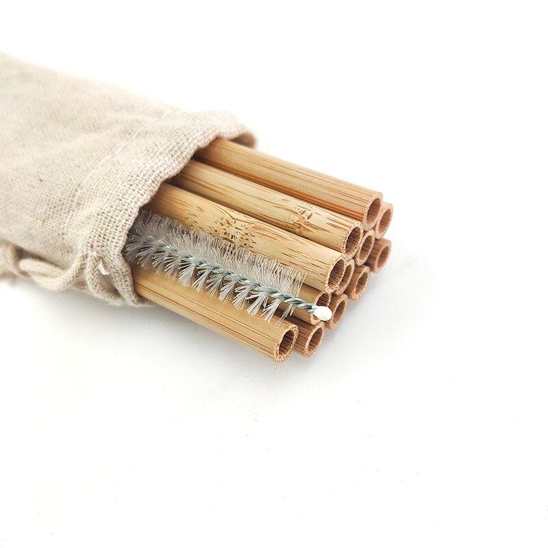 Vbatty 12 шт. набор из натуральной органической бамбуковой соломы экологически чистые бамбуковые соломинки многоразовые соломинки с соломинко...