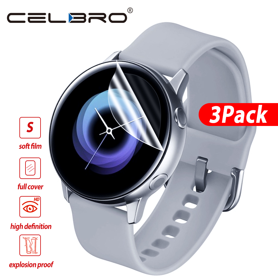 3 Pieces Soft Hydrogel Film for Samsung Galaxy Watch Active 1 2 40m 44mm Protective Film Watch Screen Protector on Active 2 1-in Smart Accessories from Consumer Electronics