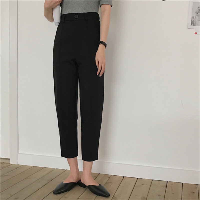 HziriP Ankle-Length Pants High Waist Loose All Match Fashion Chic 2020 Summer OL Slim Solid Women Casual Straight Trousers