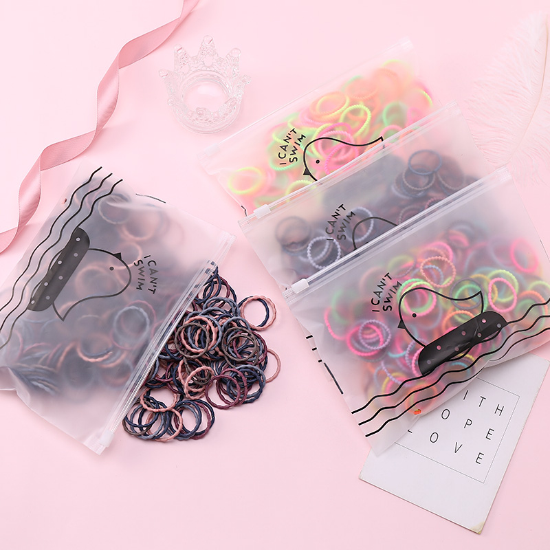 50pcs/Set Bag Packing Girls Cute Colorful Basic Elastic Hair Bands Ponytail Holder Rubber Band Headband Fashion Hair Accessories