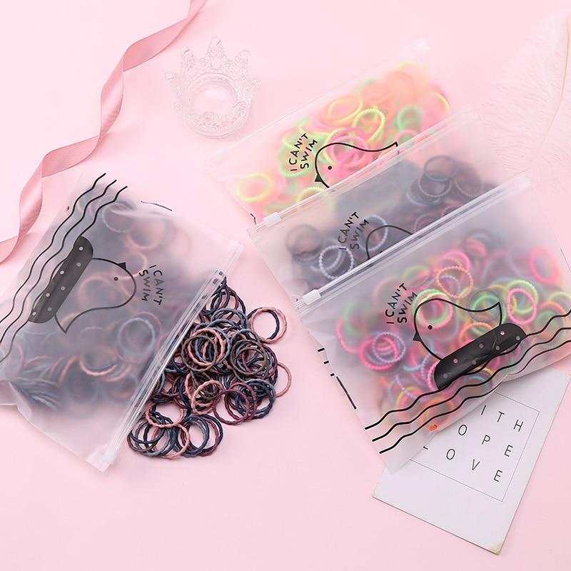 50pcs/Set Bag Packing Girls Cute Colorful Basic Elastic Hair Bands Ponytail Holder Rubber Band Headband Fashion Hair Accessories