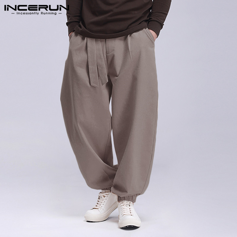INCERUN Men Casual Pants Fashion Solid Color Lace Up Joggers 2020 Baggy Pockets Sweatpants Streetwear Mens Harem Pants Trousers