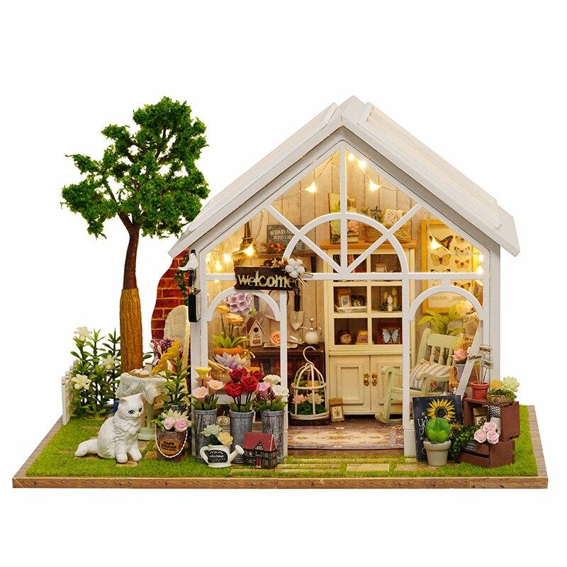 ดอกไม้เรือนกระจกเรือนกระจก Sunshine Shop DIY ตุ๊กตาที่มีเพลงแสง 3D ไม้ขนาดเล็กตุ๊กตาเฟอร์นิเจอร์บ้านประกอบของเล่นของขวัญ-ใน บ้านตุ๊กตา จาก ของเล่นและงานอดิเรก บน AliExpress - 11.11_สิบเอ็ด สิบเอ็ดวันคนโสด 1