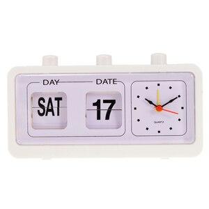 Vintage Retro Quartz Alarm Clock Flip Calendar Display Clock for Home Improvement
