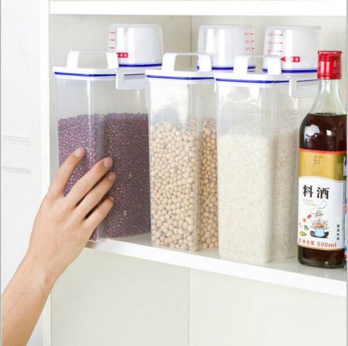 2L Plastic Cereal Dispenser Storage Box Kitchen Food Grain Rice Container