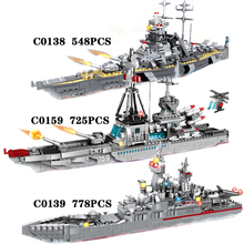 778PCS Building Blocks Children Toys Military Army with Big Boat WW2 Military Army Blocks Bricks toy Birthday Gift Children 2020
