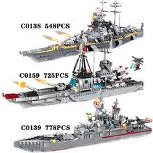 Bloques de construcción del ejército militar con gran barco para niños, juguete de piezas de bloques del ejército militar de la Segunda Guerra Mundial, 778 Uds.