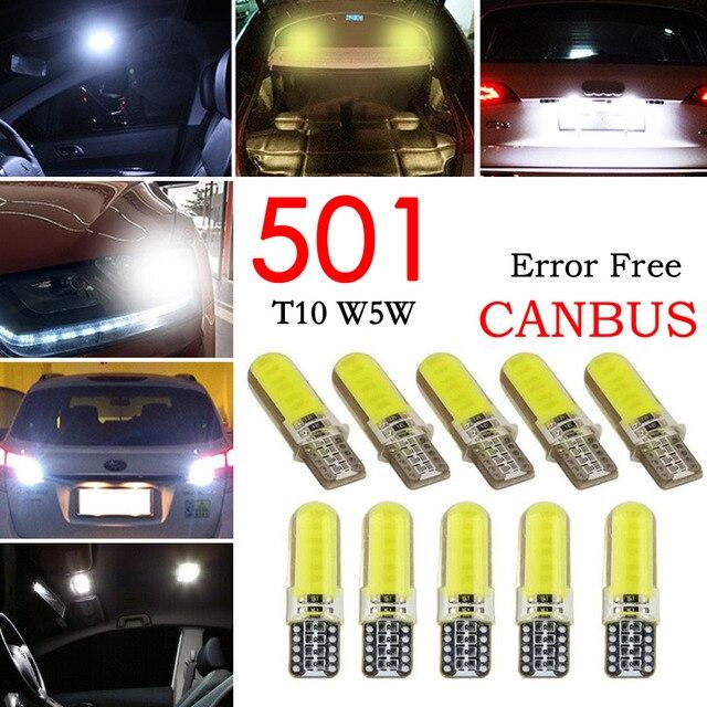 10 шт. светодиодный свет автомобиля COB W5W T10 Белый Клин свет автомобилей маленькие лампочки светоизлучающие диодные багажная лампа силикон желтый