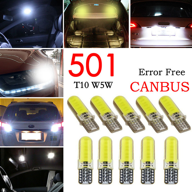 10pcs ไฟ LED รถ COB W5W T10 สีขาว Wedge Light รถยนต์ขนาดเล็กหลอดไฟ Light Emitting Diode Trunk โคมไฟซิลิโคน สีเหลือง