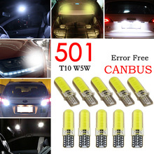 10pcs LED Car Light COB W5W T10 White Wedge Light Automobiles Small Light Bulbs Light Emitting Diode Trunk Lamp Silicone  Yellow