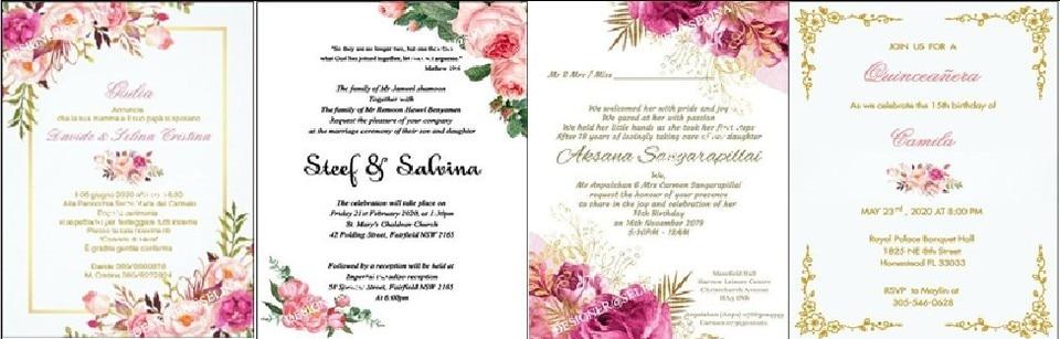 Dark Blonde Wedding Invitations Elegant Laser Cut Party