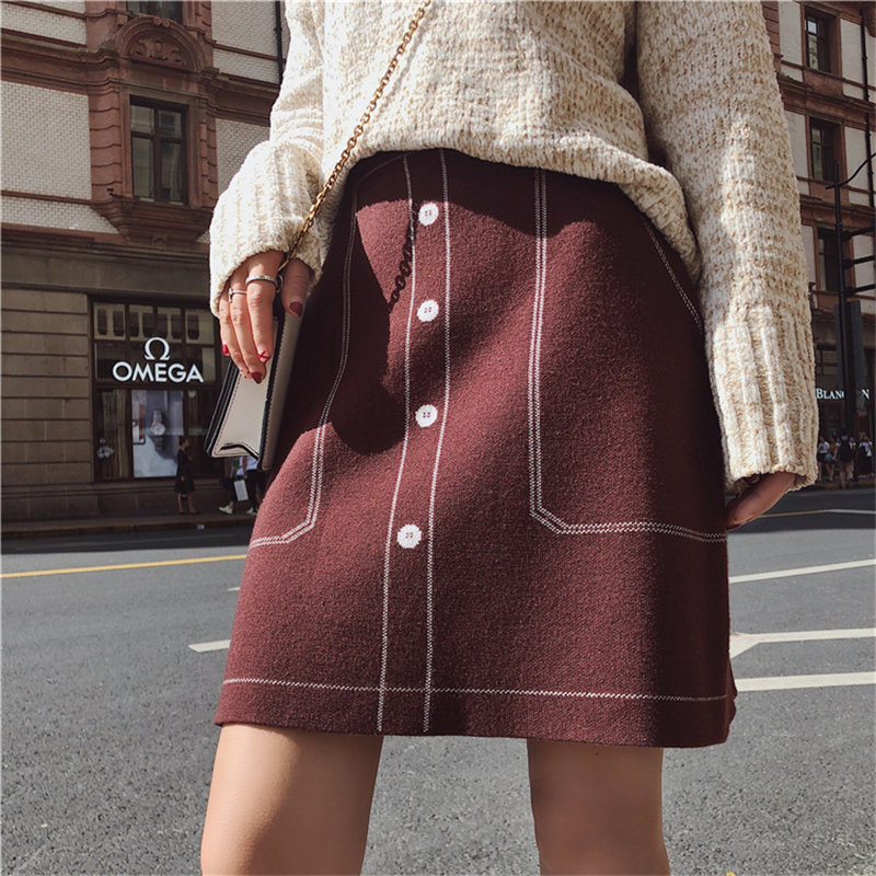 Alien Kitty 2019 Chic Autumn Winter High Waist Fresh Knitted Loose High Street Casual High Quality A-Line Mini Skirts 3 Colors